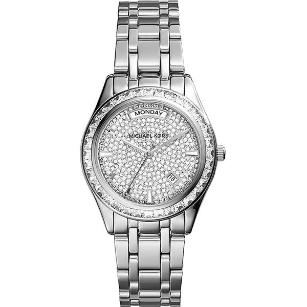 NEW MICHAEL KORS CRYSTAL DIAL DAY/DATE MSRP $475