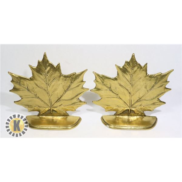 2 BRASS MAPLE LEAF SHAPED BOOK ENDS