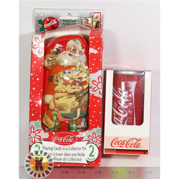COCA COLA PLAYING CARDS IN TIN SOLD WITH