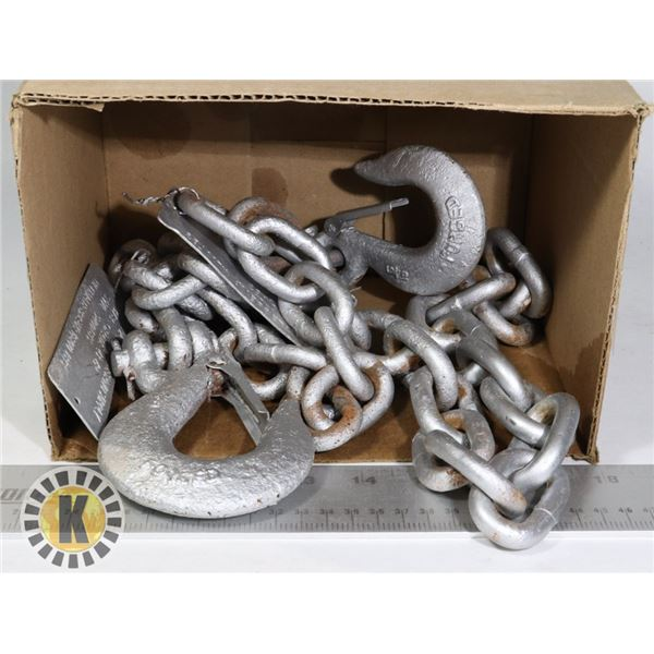 2 HEAVY-DUTY TOWING CHAINS WITH HOOK