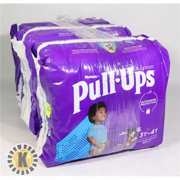 3 BAGS OF HUGGIES PULL UPS BOYS SIZE 3T-4T
