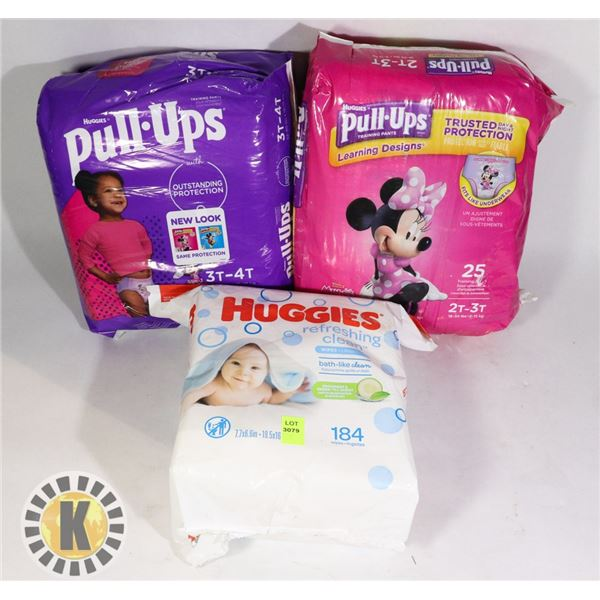 2 BAGS OF DIAPERS SOLD WITH BAG OF 184 HUGGIES