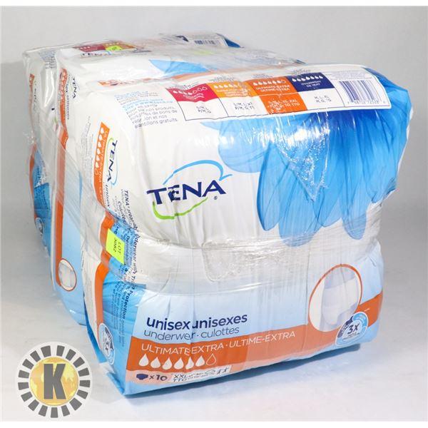 3 BAGS OF TENA UNISEX UNDERWEAR SIZE XXL