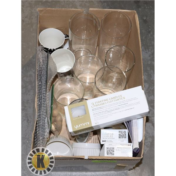 ESTATE BOX OF VASES WITH FLOATING CANDLES AND