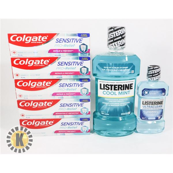 BAG OF MOUTH WASH AND ASSORTED TOOTHPASTE