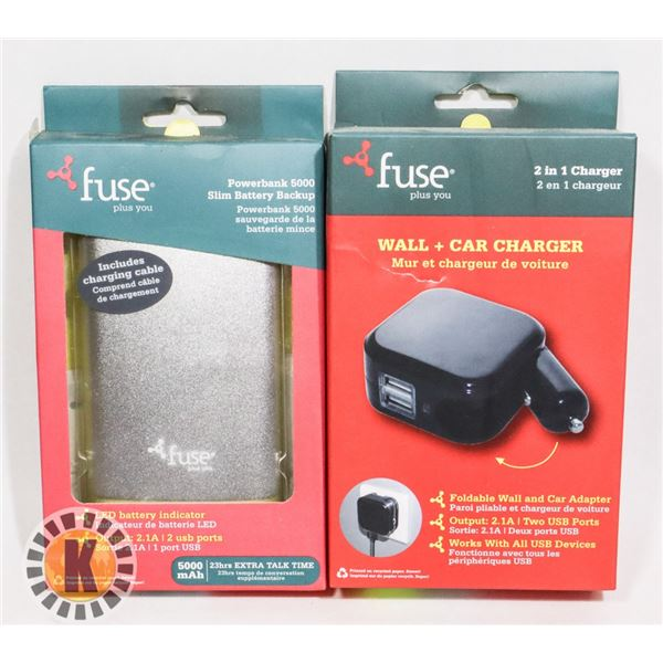 FUSE WALL+CAR CHARGER AND POWER BANK