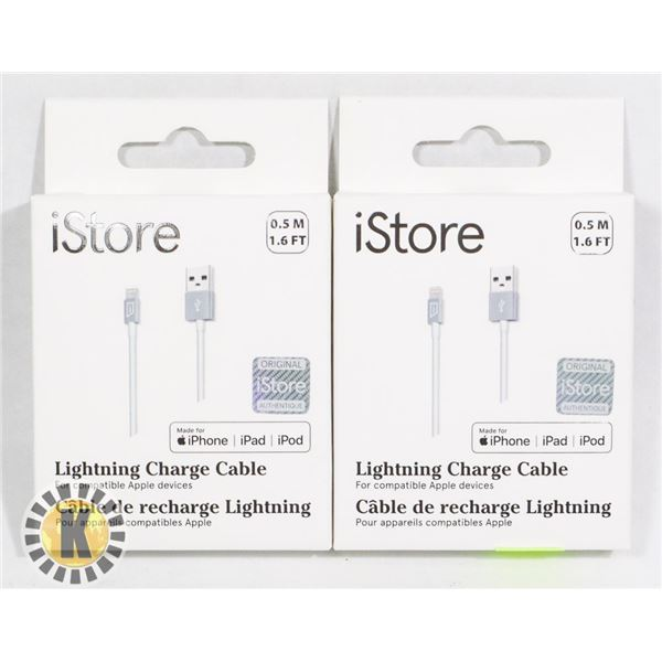 BUNDLE OF 2 ISTORE USB-C TO LIGHTING CABLE CHARGE