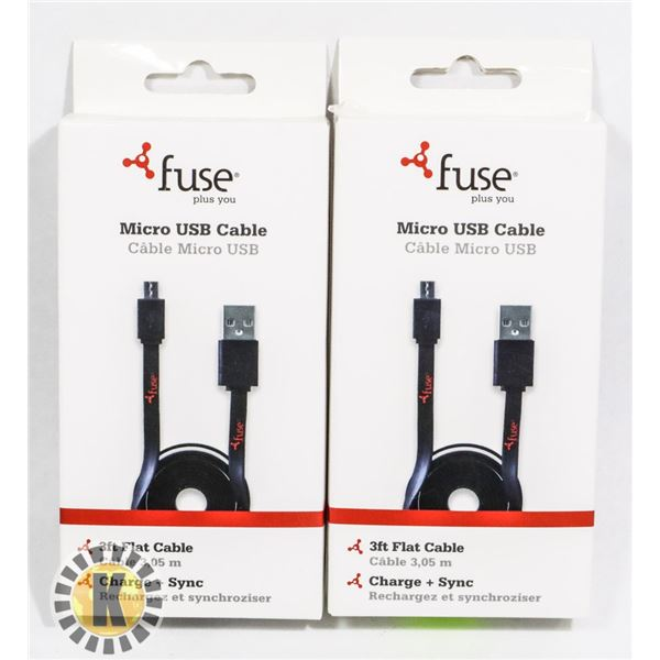 BUNDLE OF 3 FUSE MICRO USB CABLE