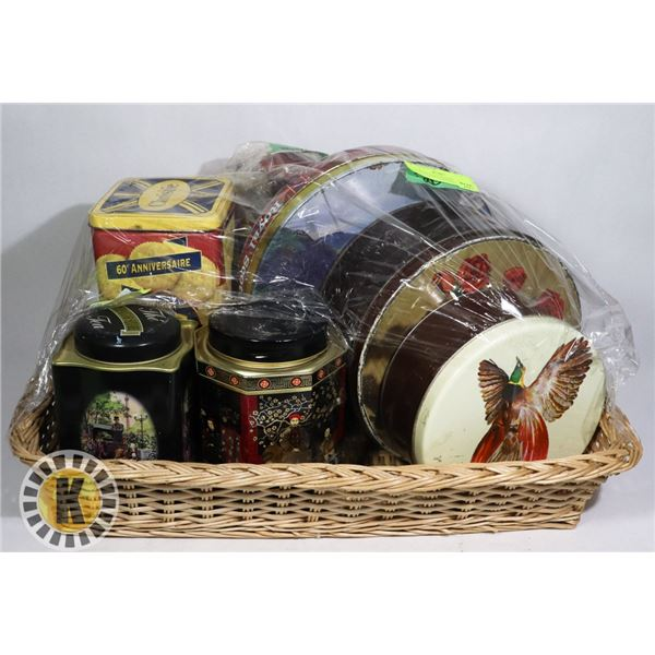 LARGE WEAVED BASKET AND MANY COLLECTIBLE CANS/TINS