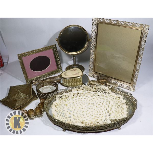 GOLD COLORED VANITY SET- MIRRORS, BRUSH, FRAMES