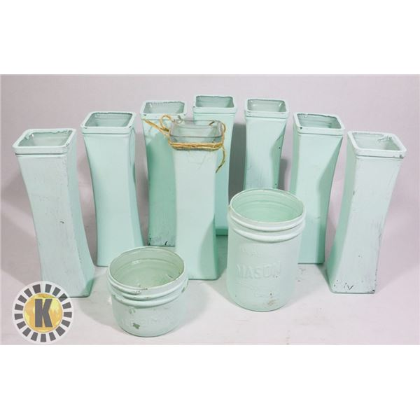 PAINTED VASES- GREEN