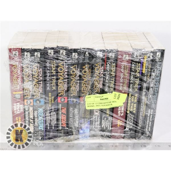LOT OF 13 UNREAD STAR TREK BOOKS - INCL VOYAGEUR,