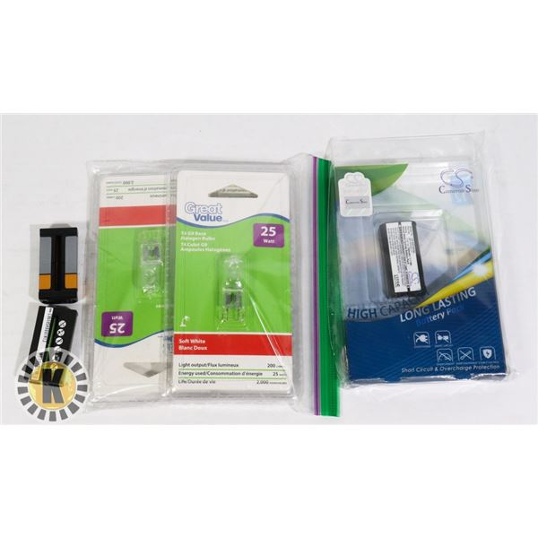 3 HIGH CAPACITY BATTERIES AND T4 G9 HALOGEN BULB