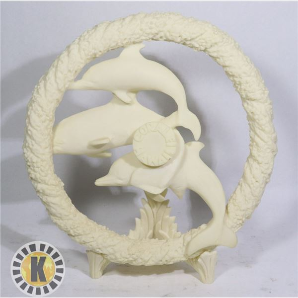 CULTURED CORAL DOLPHIN STATUE WREATH WITH CORAL