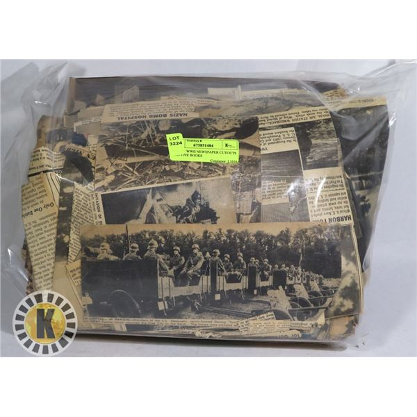 BOX OF WWII NEWSPAPER CUTOUTS