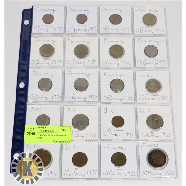 20 ASSORTED COINS 11 GERMANY 7 UK 2 FRANCE