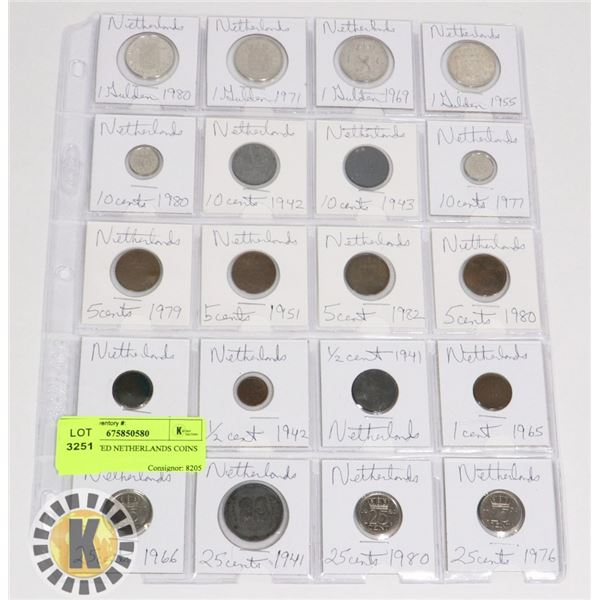 20 ASSORTED NETHERLANDS COINS