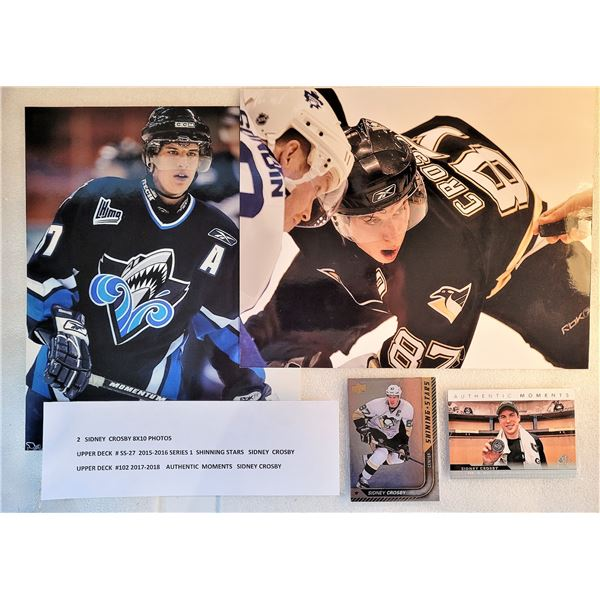 15)  LOT OF 2 SIDNEY CROSBY 8 X 10 PHOTOS AND