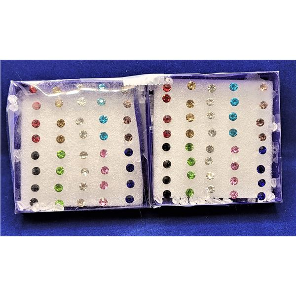 1)  LOT OF 40 PAIRS OF MULTI COLORED STUD