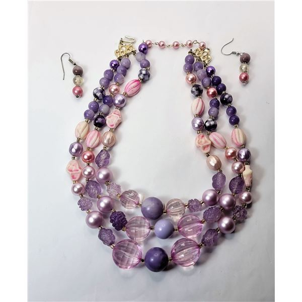 9)  VINTAGE TRIPLE STRAND NECKLACE AND