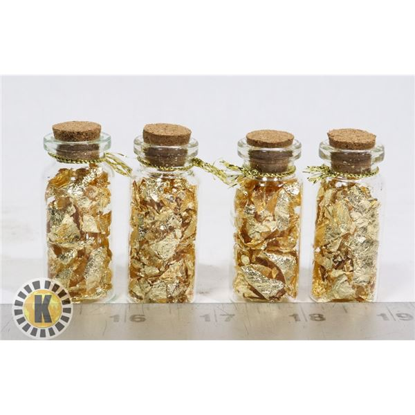 4 GLASS BOTTLES FILLED WITH GOLD FOIL