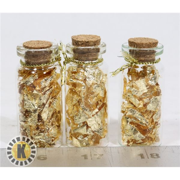 3 GLASS BOTTLES FILLED WITH GOLD FOIL