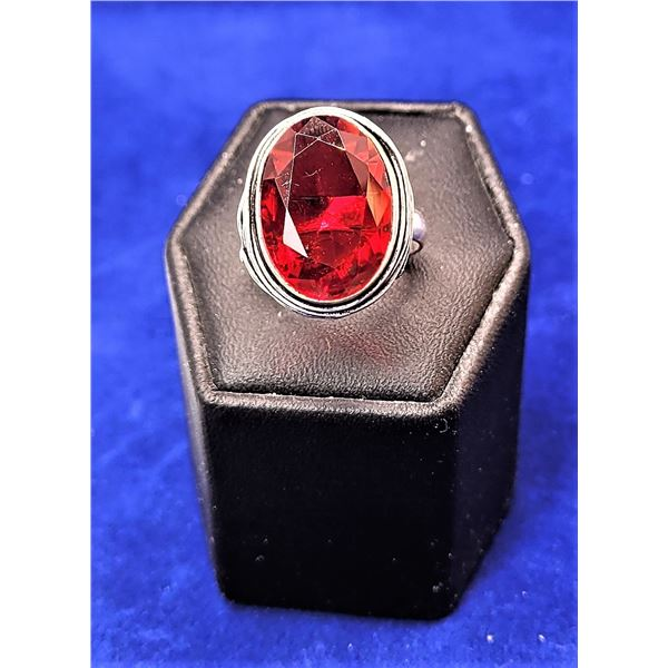 7)  LAB CREATED RED RASPBERRY TOPAZ OVAL RING