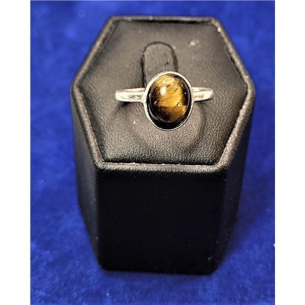 9)  OVAL NATURAL TIGER'S EYE RING SET IN 925 STAMP