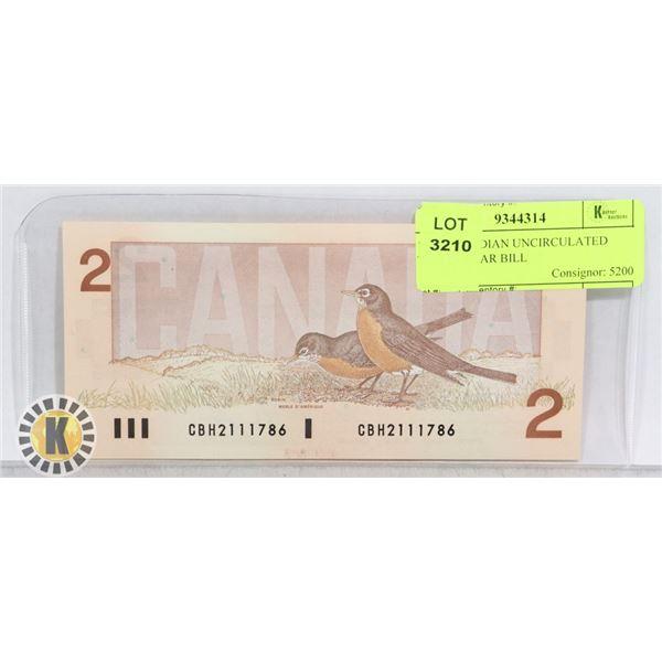 1986 CANADIAN UNCIRCULATED TWO DOLLAR BILL