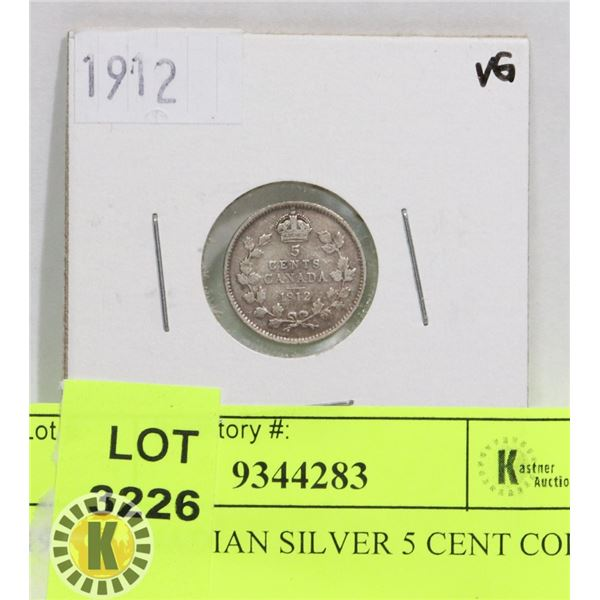 1912 CANADIAN SILVER 5 CENT COIN