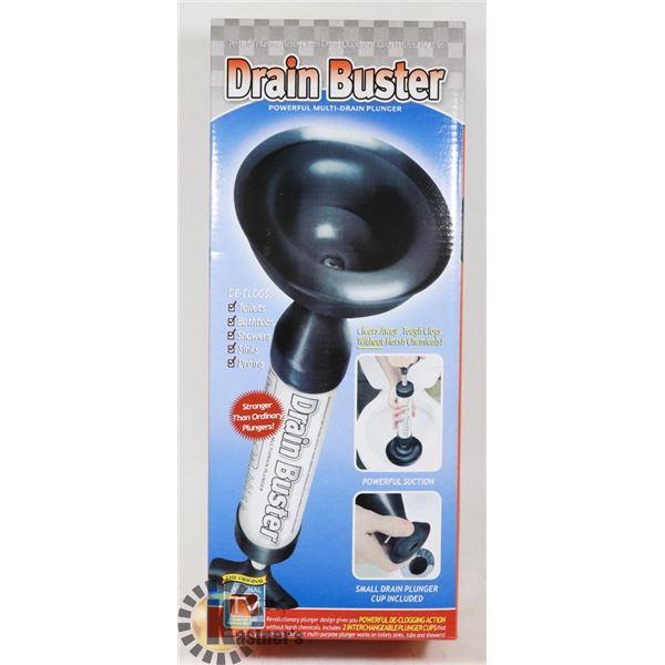 NEW DRAIN BUSTER POWER MULTI-DRAIN PLUNGER