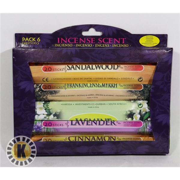 NEW 6 PK OF INCENSE SCENTS