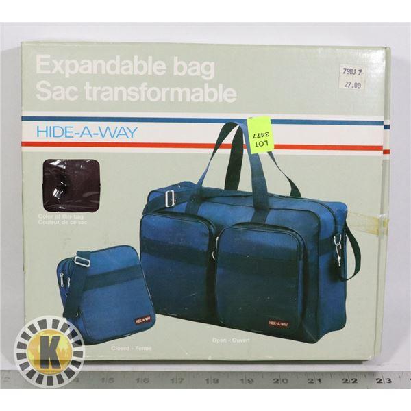 HIDE-A-WAY EXPANDABLE BAG