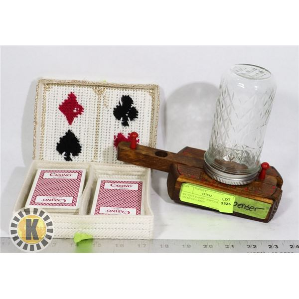 ANTIQUE CANDY DISPENSER AND 2 DECKS OF CARDS