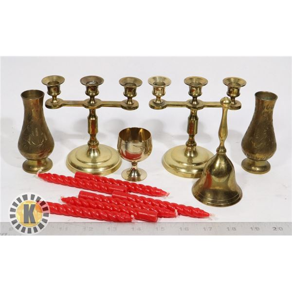 BOX OF ASSORTED BRASS CUPS
