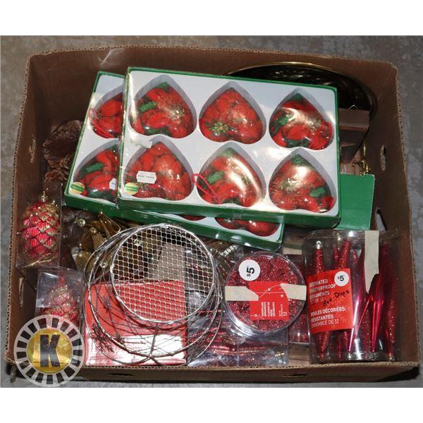 LARGE BOX OF CHRISTMAS HOME DECOR