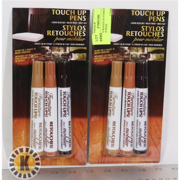 2 NEW PACKAGES OF FURNITURE TOUCH UP PENS
