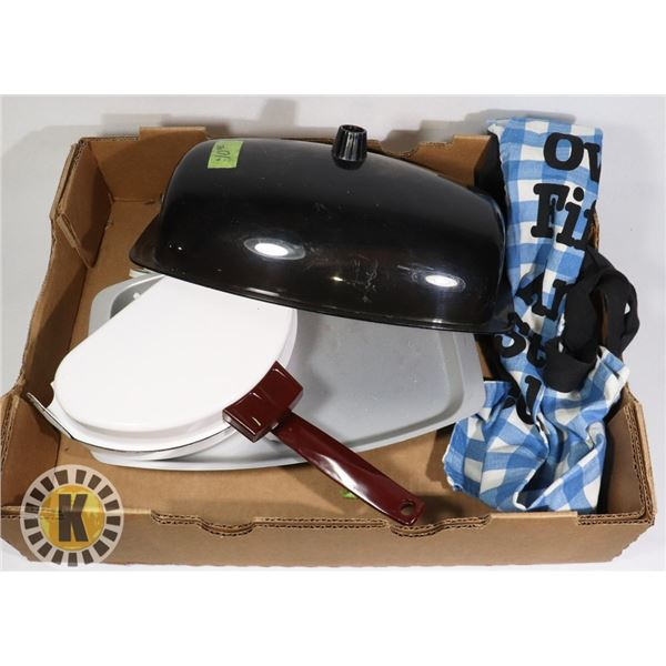 HEATED SERVING TRAY, OMELLETE PAN, AND APRON