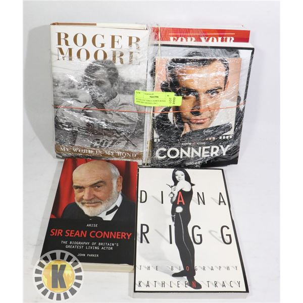 8 COLLECTIBLE JAMES BOND FILM AND BIO BOOKS, INCL.