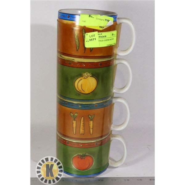 4 MEXICAN STYLE COFFEE MUGS