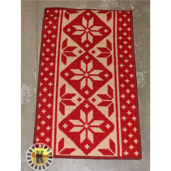 """18"""" BY 30"""" CARPET- RED AND WHITE"""