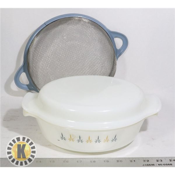 MESH/SIEVE AND VINTAGE GLASS BOWL WITH LID