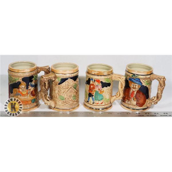 4 BEER STEINS