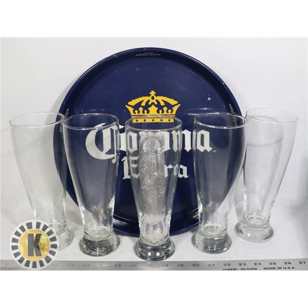 CORONA SERVING TRAY AND 4 EXTRA LARGE BEER GLASSES