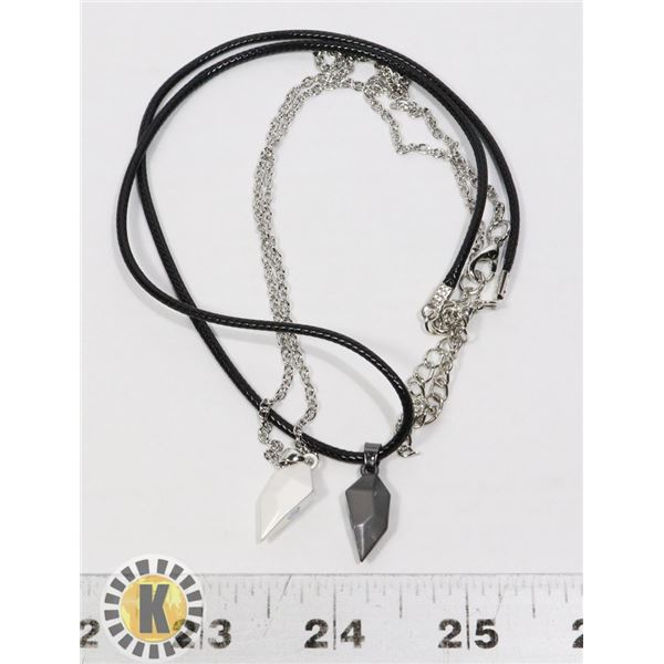 NEW 2 PIECE MAGNETIC HEART CHARM NECKLACES.