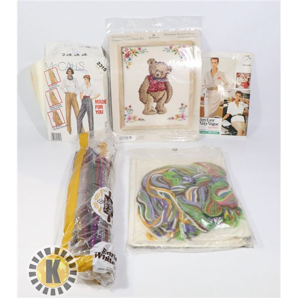BOX OF CRAFT SUPPLIES INCLUDING STITCH KIT & MORE