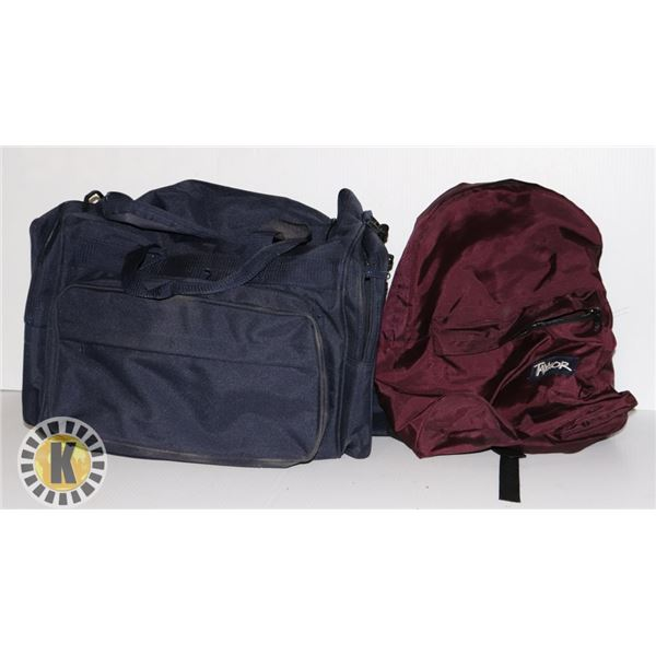 1 TAYMORE BACKPACK AND 1 TRAVEL BAG