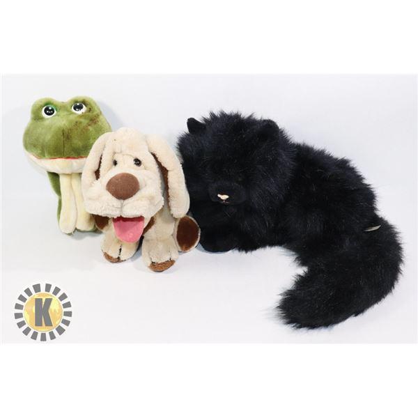 SET OF DOLLS- FROG, DOG, CAT