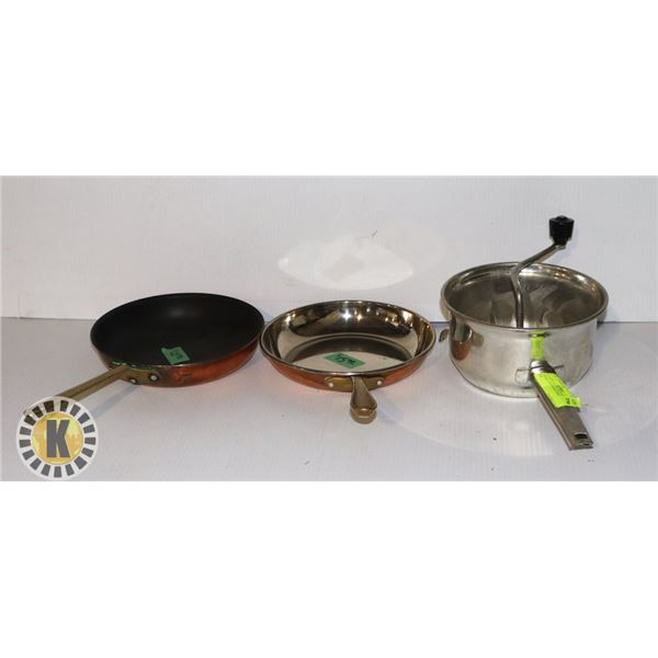 2 SMALL PANS AND A SPECIALTY POT