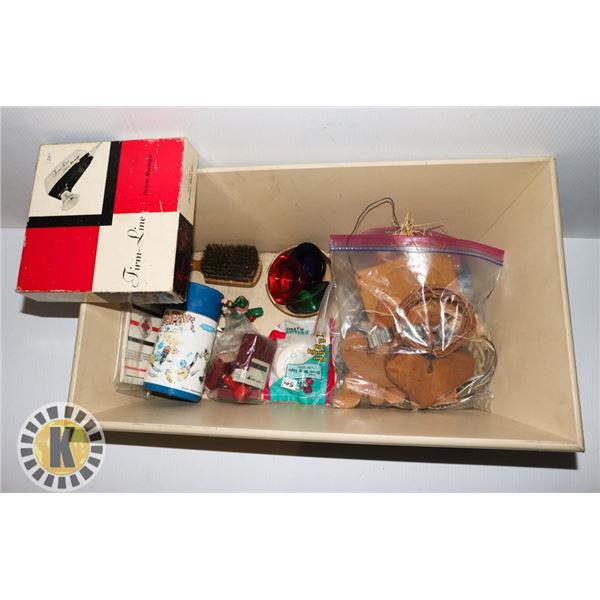 WOODEN BOX OF MISCELLANEOUS